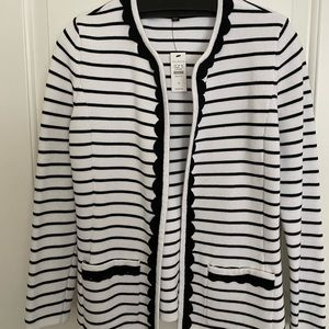 Talbots black and white sweater jacket